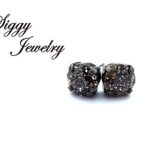 Swarovski® Crystal Earrings, Black Patina Studs